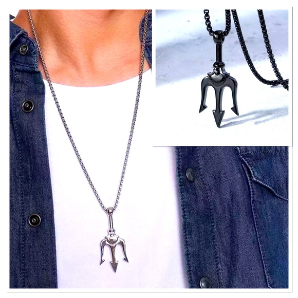 Men's Stainless Steel Trident Pendant Necklace